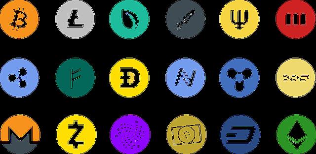 barevné ikony kryptoměn